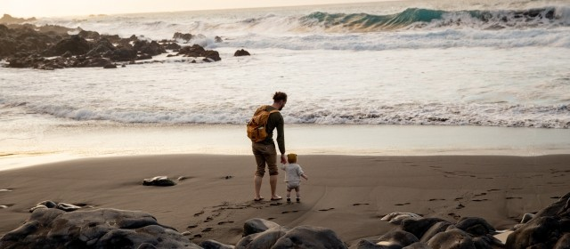 A man and child walking on the beach