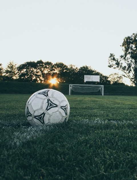 A soccer ball on a field